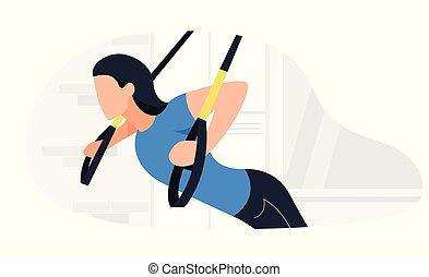 entrenamiento, mujer, ataque, trabajando, entrenamiento,...