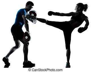 entrenamiento, mujer, boxeo, hombre