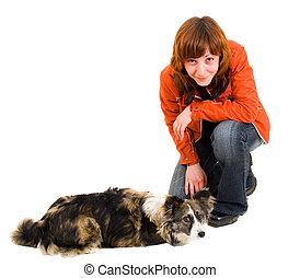 entrenamiento, mujer, perro