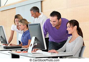 entrenamiento, oficina, trabajadores, empresa / negocio