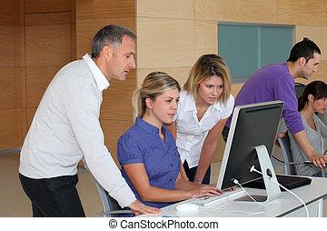 entrenamiento, oficinistas, empresa / negocio