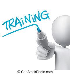 entrenamiento, palabra, escrito, por, 3d, hombre