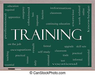 entrenamiento, palabra, nube, concepto, en, un, pizarra