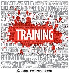 entrenamiento, palabra, nube, educación, concepto