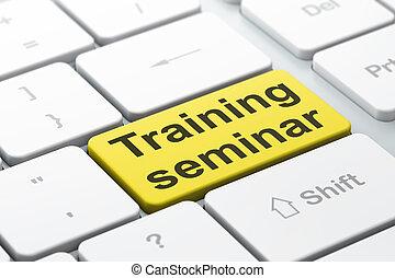 entrenamiento, palabra, render, teclado, botón, seleccionado, foco, seminario, plano de fondo, entrar, educación, computadora, concept:, 3d