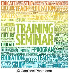 entrenamiento, palabra, seminario, nube