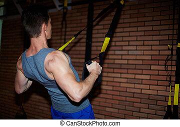entrenamiento, para, brazos