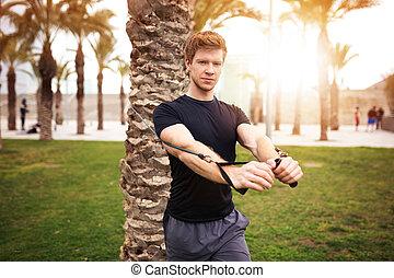 entrenamiento, parque, muscular, hombre