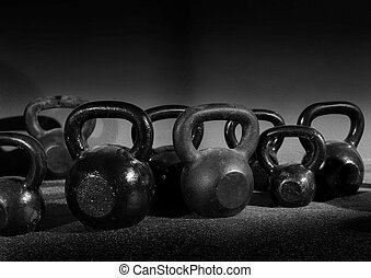 entrenamiento, pesas, gimnasio, kettlebells