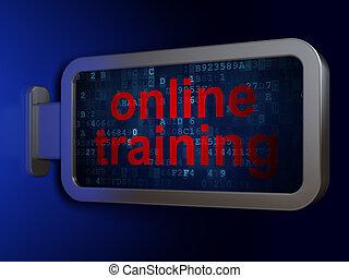 entrenamiento, plano de fondo, en línea, cartelera, educación, concept: