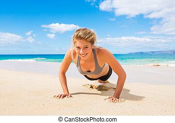 entrenamiento, playa