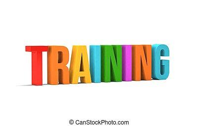 entrenamiento, render, word., ilustración, plano de fondo, blanco, 3d