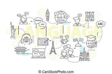 entrenamiento, school., idioma, moderno, idiomas, extranjero, delgado, aprendizaje, conceptos, línea