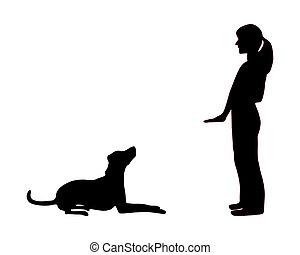 entrenamiento, sentarse, perro, abajo, (obedience):, comando