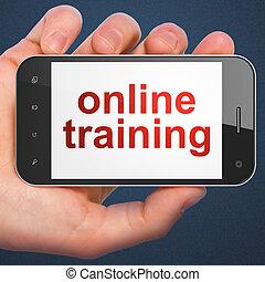 entrenamiento, smartphone, educación, concept:, en línea