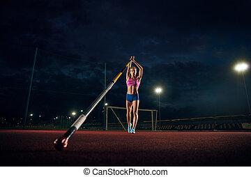 entrenamiento, tarde, hembra, saltador, poste, estadio