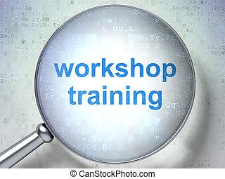 entrenamiento, vidrio, taller, óptico, educación, concept: