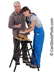 entrenamiento, vocacional, carpintería