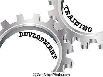 entrenamiento, y, desarrollo, engranajes