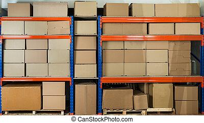 entrepôt, étagère, boîtes, carton