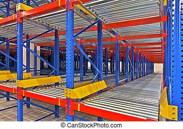 entrepôt, étagère, stockage, systèmes