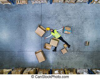 entrepôt, accident, ouvrier, après, warehouse.