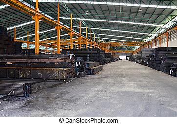 entrepôt, acier, stockage