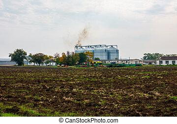 entrepôt, agricole, extérieur, paysage