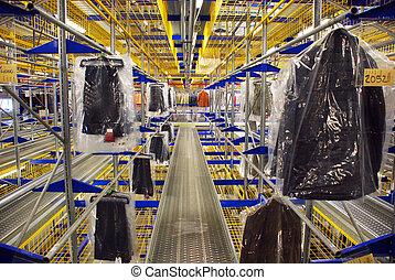 entrepôt, automatique, habillement