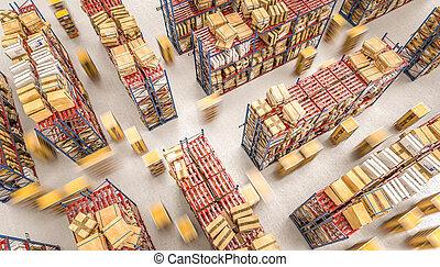 entrepôt, automatisé, stockage, bourdons