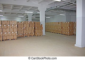 entrepôt, boîtes, carton