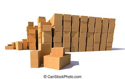 entrepôt, boîtes carton