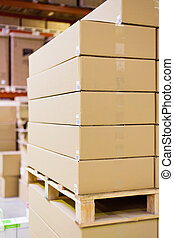entrepôt, boîtes, carton, stockage