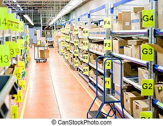 entrepôt, boîtes, carton, stockage, stands