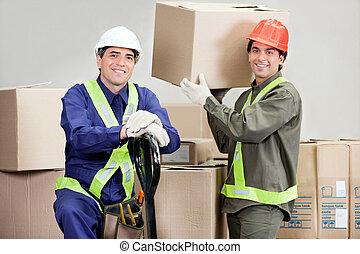 entrepôt, boîtes, chargement, contremaîtres, carton
