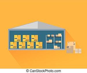 entrepôt, boîtes, coupure, stockage