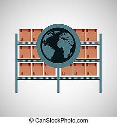 entrepôt, boîtes, globe, icône