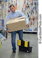 entrepôt, boîtes, porter, portier