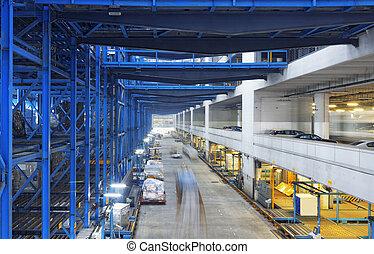 entrepôt, boîtes, rangées, usine, étagères
