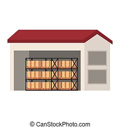 entrepôt, boîtes, rayonnage