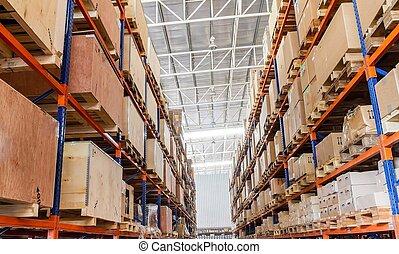 entrepôt, boîtes, usine, étagères