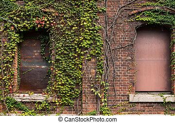 entrepôt, brique, rouges