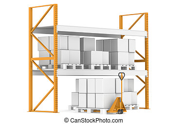 entrepôt, camion, étagères, palettes, main