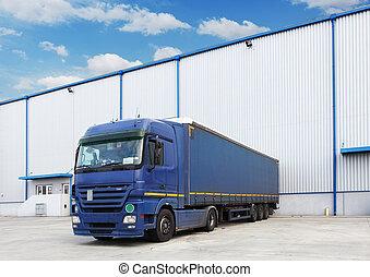 entrepôt, camion, bâtiment