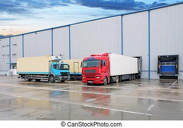entrepôt, camion cargaison, bâtiment
