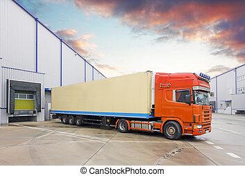 entrepôt, camion, déchargement