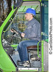entrepôt, camion, fonctionnement, homme