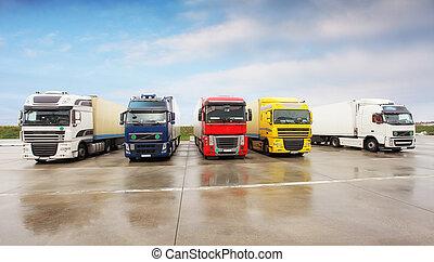 entrepôt, camions, stationnement