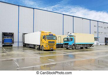entrepôt, cargaison, -, transport camion
