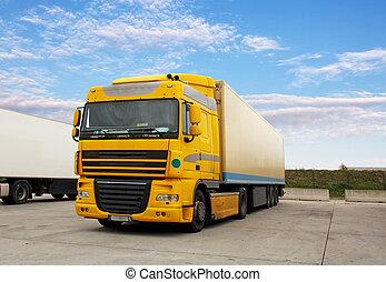 entrepôt, cargaison, -, transport, camion